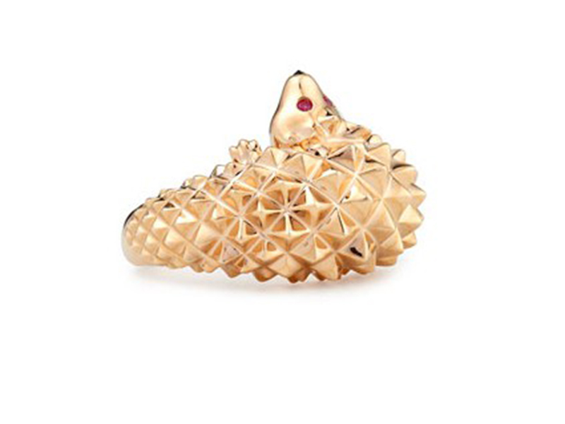 Boucheron Hans the hedgehog ring mounted on rose gold with rubies and black diamonds ~ USD 5'100