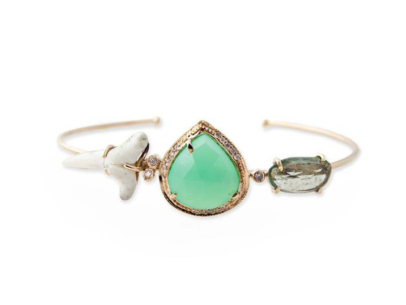 Jacquie Aiche Bracelet with pavé diamonds, chrysoprase and natural shark tooth