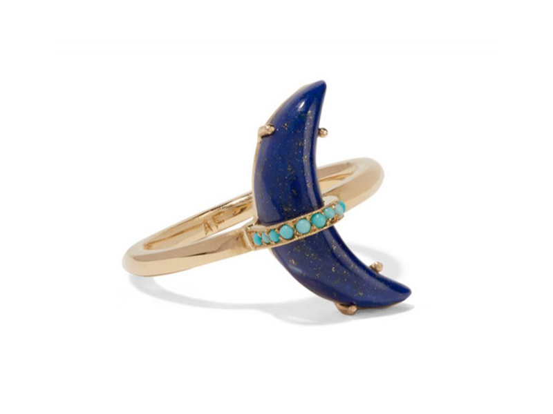 Andrea Fohrman Crescent Moon mounted on gold with lapis lazuli and turquoise ring ~ 2'233 Euros