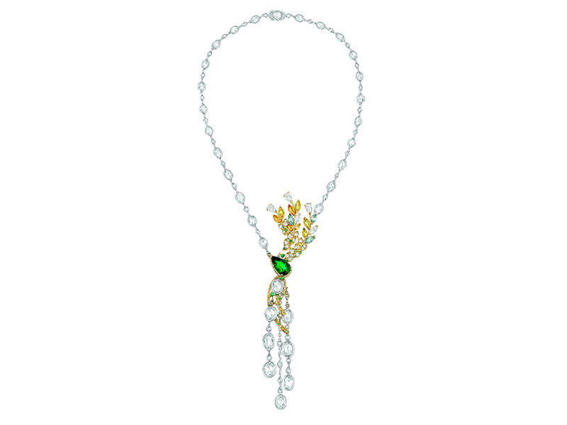 Chanel Épi d'Été necklace in platinum and white and yellow gold set with a 4.7-carat pear-cut emerald, 8 marquise-cut yellow sapphires, 3 marquise-cut aquamarines, 17 brilliant-cut emeralds, 12 brilliant-cut Paraiba tourmalines, 43 brilliant-cut fancy vivid yellow diamonds, 13 brilliant-cut cognac diamonds, 5 rose-cut brown diamonds, 8 rose-cut diamonds, 5 fancy-cut diamonds, 25 rose-cut oval diamonds, 68 rose-cut diamonds and 164 brilliant-cut diamonds
