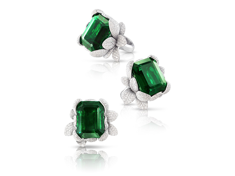 Pasquale Bruni From Giardini Segreti Haute Couture collection - Ring mounted on white gold with white diamonds and emerald