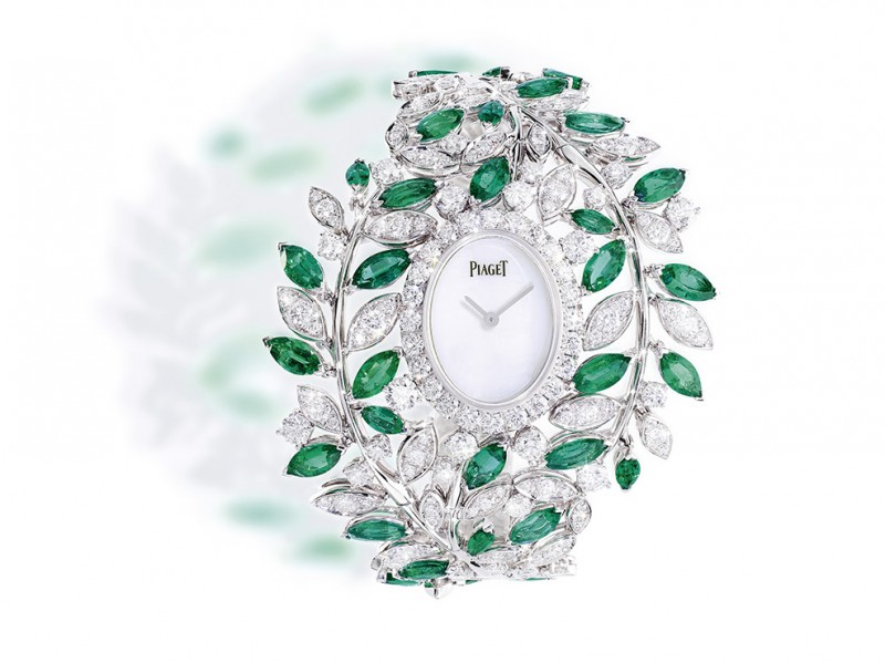 Piaget From Sunny Side of Life collection - A cuff watch set with emerald and diamond foliage