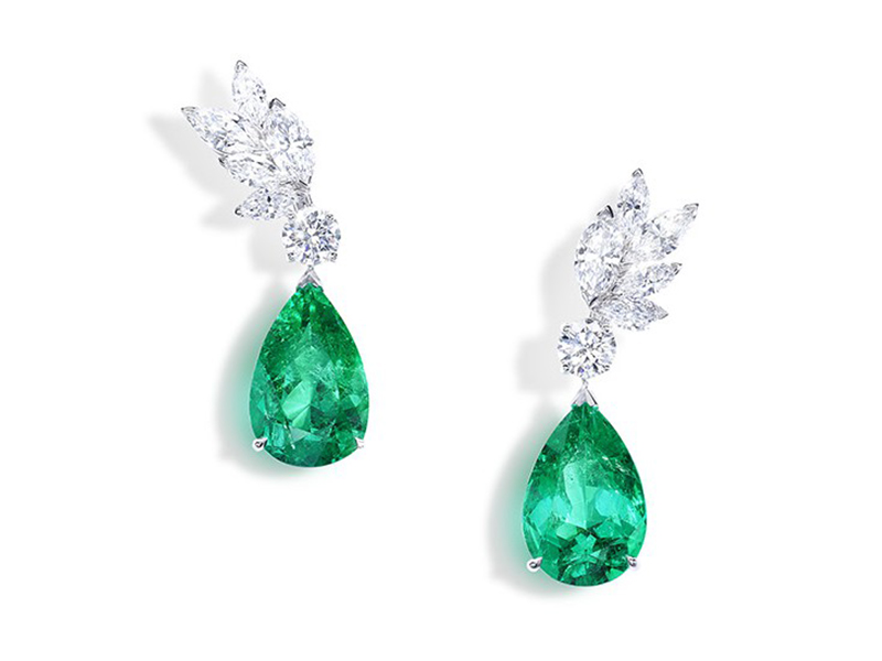 Piaget From Sunny Side of Life collection - Earrings set with diamond and emerald