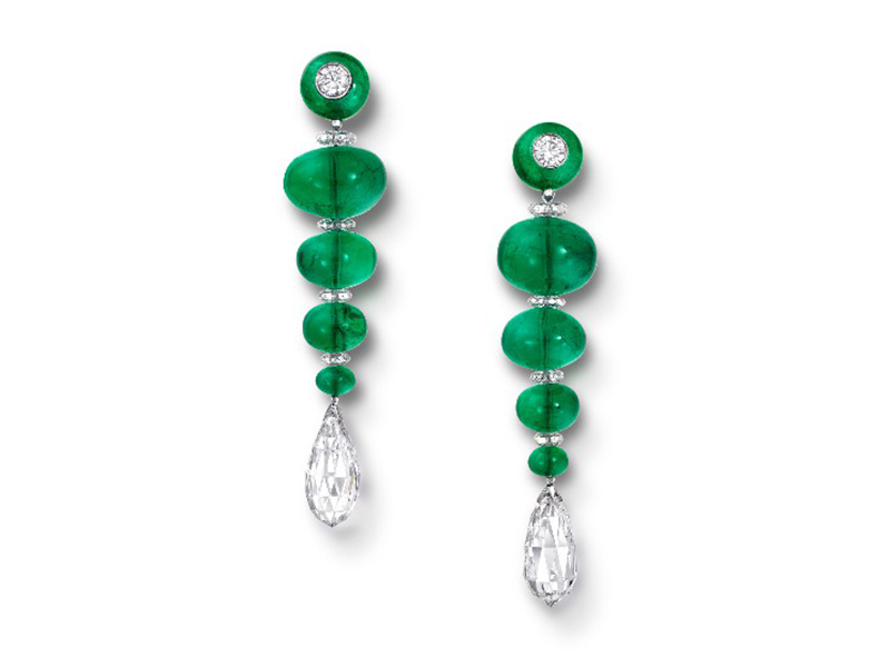 Graff Earrings set with diamonds and emerald