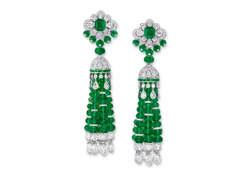 Graff Tassel earrings set with emeralds and diamonds