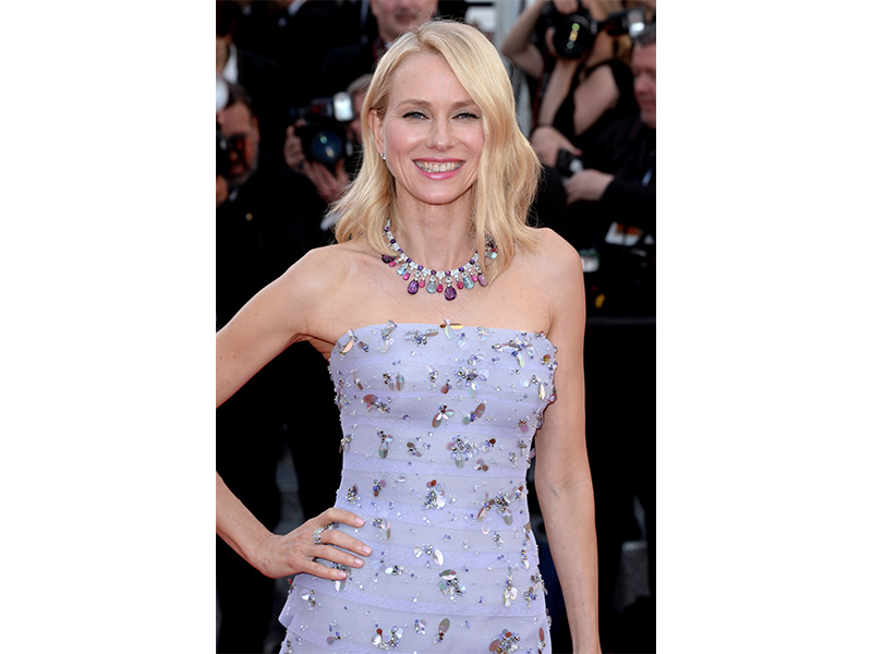 Bulgari Naomi Watts wore high jewelry necklace in white gold amethysts, rubellites, acquamarines, diamonds and pave diamonds. She also wore High Jewellery earrings in platinum with 2 round brilliant cut diamonds and Ring Serpenti Seduttori in white gold with round mounted setting pavé diamonds.
