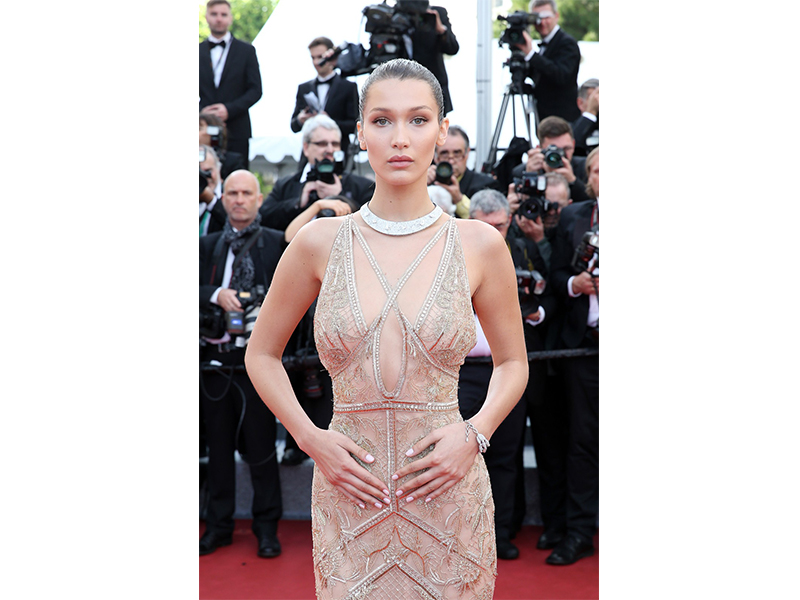 De Grisogono Bella Hadid wore a De Grisogono High Jewelry necklace to a refined Florinda bracelet.