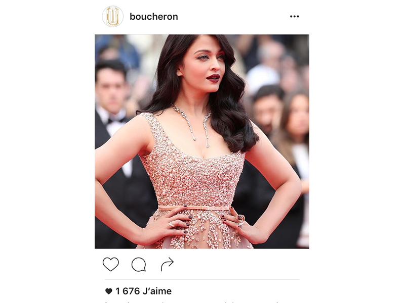 Boucheron Aishwarya Rai Bachchan wore Halo Delilah High Jewelry necklace and a Hopi ring.