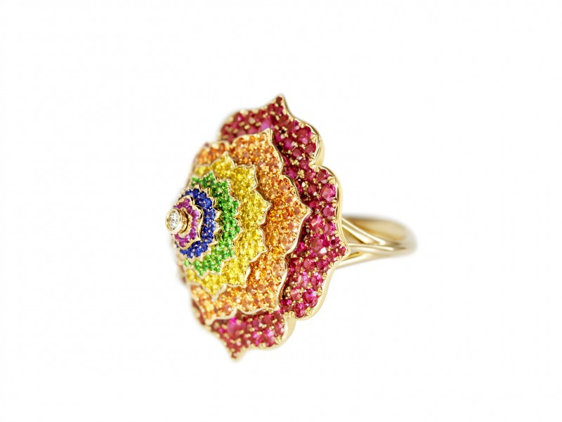 Caspita From Chakras collection - 7 Chakras Tourbillon ring mounted on yellow gold is available at the Pop Up