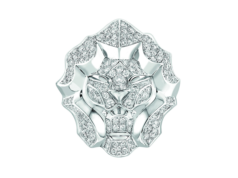 SOUS LE SIGNE DU LION RING LION RING, LARGE VERSION, IN 18K WHITE GOLD AND DIAMONDS chanel