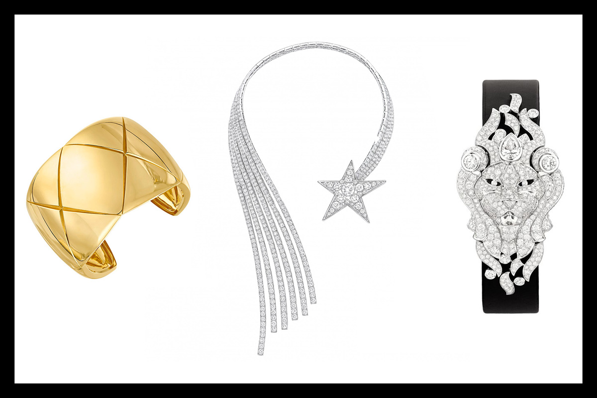 Chanel jewelry : Coco Crush ring, comète necklace set with diamonds and Sous le Signe du Lion bracelet