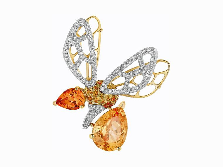 Chaumet Abeille orange tourmaline and hessonite garnet brooch in the shape of a bee, which has been a cherished Chaumet symbol since the 18th century