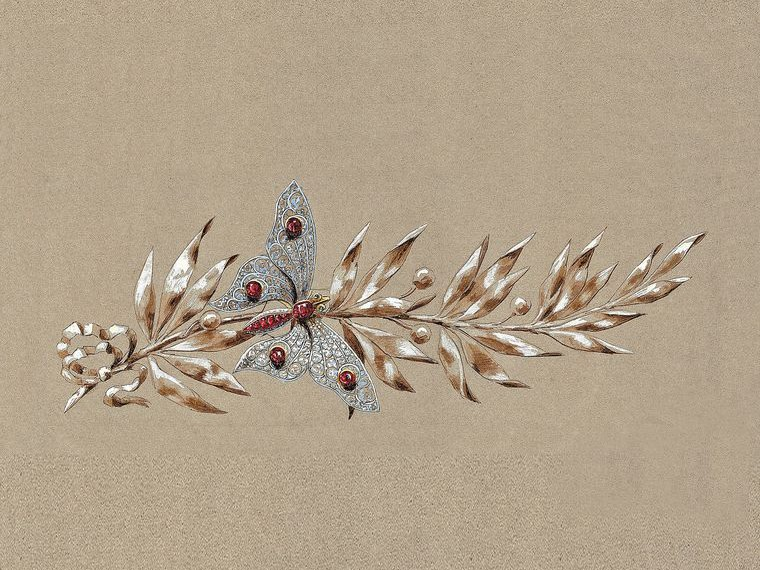 Preparatory sketch of a butterfly and laurel branch stomacher brooch from Chaumet.