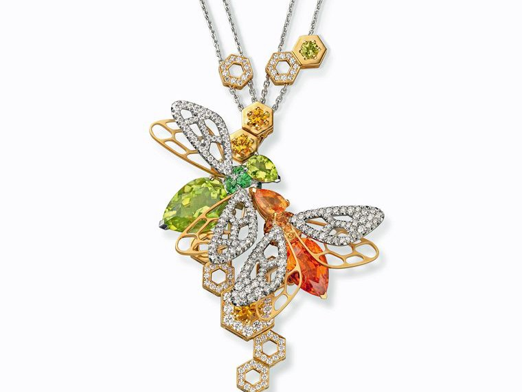 Chaumet Abeille mandarin garnet and peridot necklace, on display at the Maison's Promenade Bucolique exhibition in Paris, which offers visitors the chance to see a selection of Chaumet jewellery dating from the Romantic period through to the 1980s.