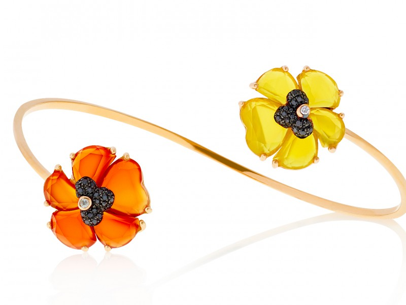 Christina Debs Bracelet set with Cornelia and Mango Agate peonies set with black diamonds. AVAILABLE AT THE EYE OF JEWELRY POP UP STORE IN GENEVA- 2'510 CHF