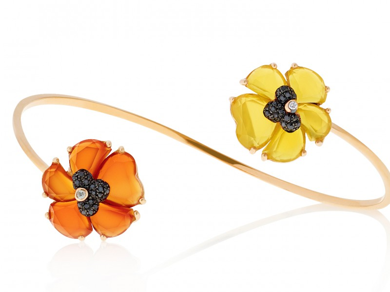 Christina Debs Wonderland Collection - Open Bangle with orange and yellow Agathe - CHF 2'510.-
