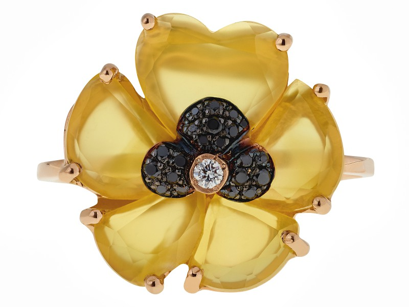 Christina Debs Wonderland - Yellow Agathe Ring with black and white diamonds - CHF 1'280
