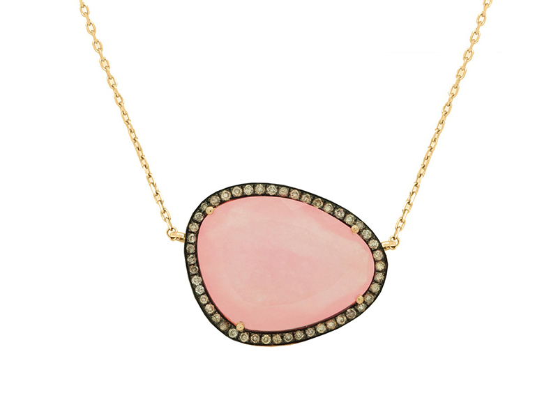 Christina Debs This pink jade pendant with brown diamonds and pink gold from Hard Candy Collection is available at the Pop Up