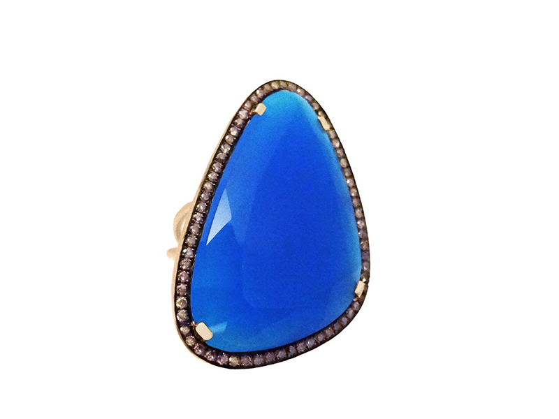Christina Debs This Navy Blue Chalcedony ring with brown diamonds and pink gold from Hard Candy Collection is available at the Pop Up