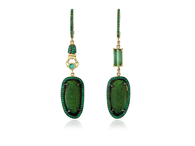 Daniela Villegas Emerald city earrings mounted on yellow gold