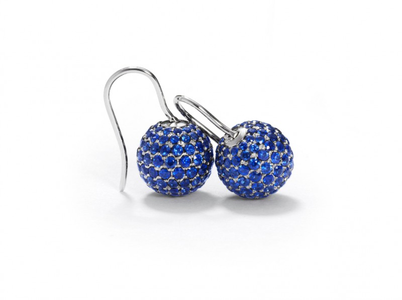 Shamballa Blue Sapphire Pavé Earrings