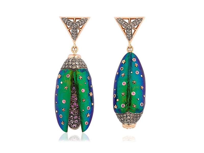 Bibi Van Der Velden Scarab drop earrings mounted on rose gold with brown diamonds, pink sapphires, purple amethyst and tsavotites ~ GBP£ 5'970