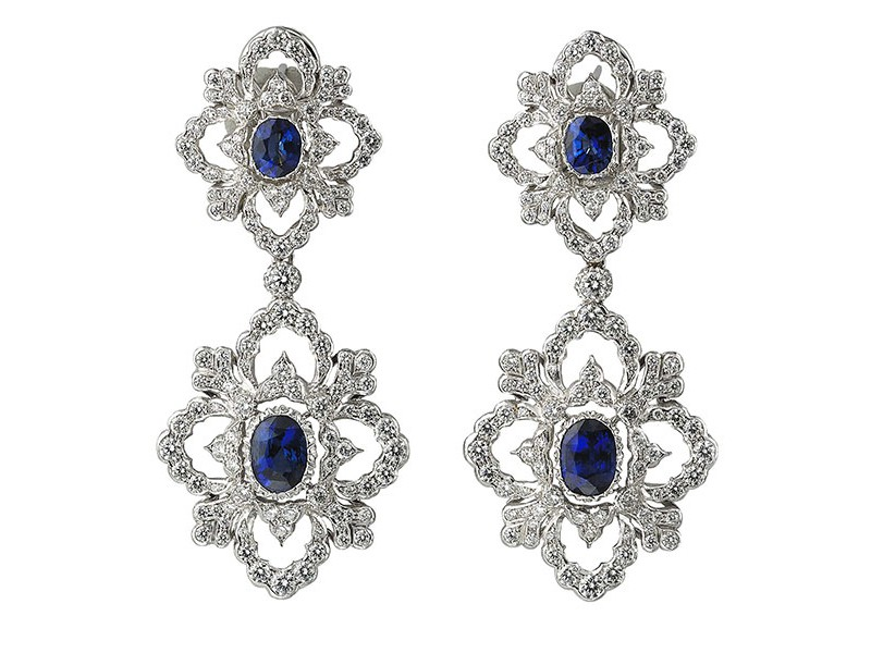 Buccellati Opera pendant earrings mounted on white gold with diamonds and sapphires ~ 76'000 Euros