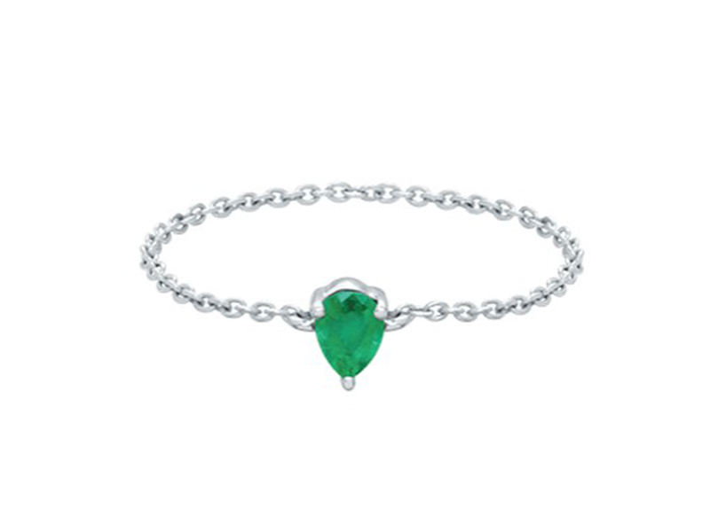 Djula Pear gold and emerald chain ring mounted on white gold ~ USD$ 594