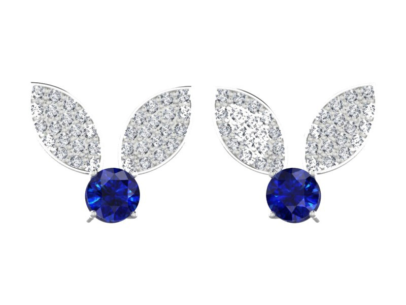 Edendiam Bunny earrings mounted on white gold with sapphires and diamonds