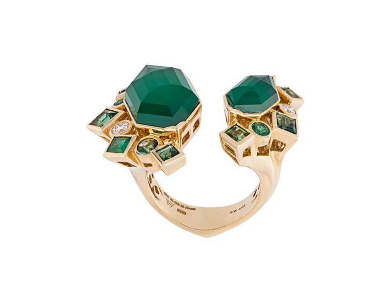 "Stephen Webster ""Crystal haze"" emerald and diamond ring mounted on yellow gold ~ GBP£ 11'185"