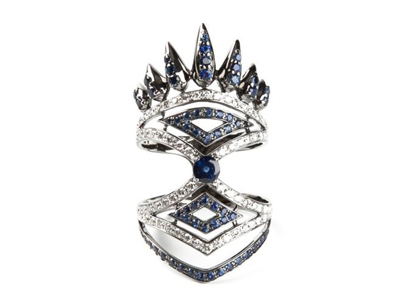 Nikos Koulis Ring mounted on white gold with diamonds and sapphires ~ 6'730 Euros