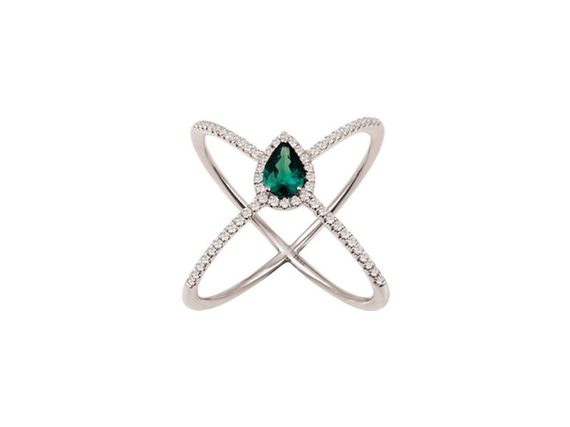 Djula Emerald drop gold and diamonds ring ~ USD$ 2'874