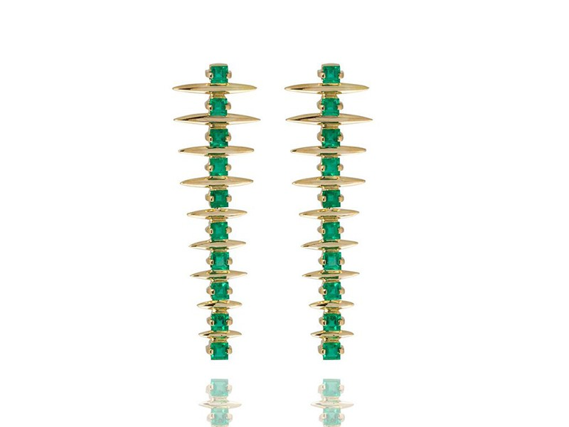 Carla Amorim Forest fern emerald drop earrings mounted on yellow gold ~ USD$ 6'580