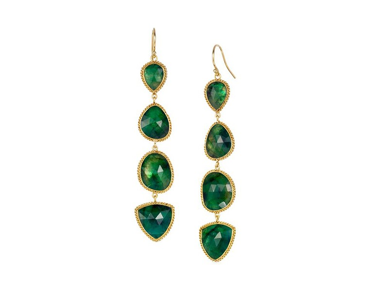 Amali Earrings mounted on yellow gold with emeralds ~ USD$ 4'500