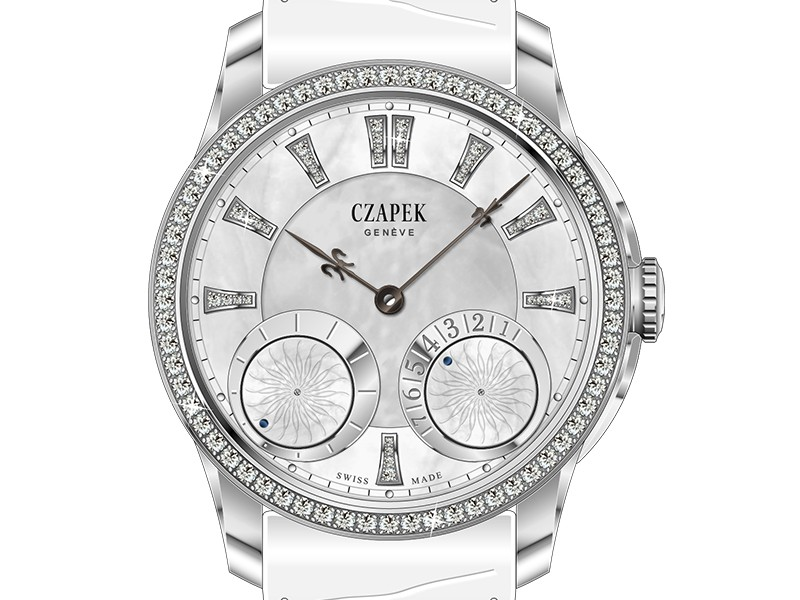 Czapek Quai des Bergues Lady set on white gold set with a mechanical mouvement. Also available on red gold.