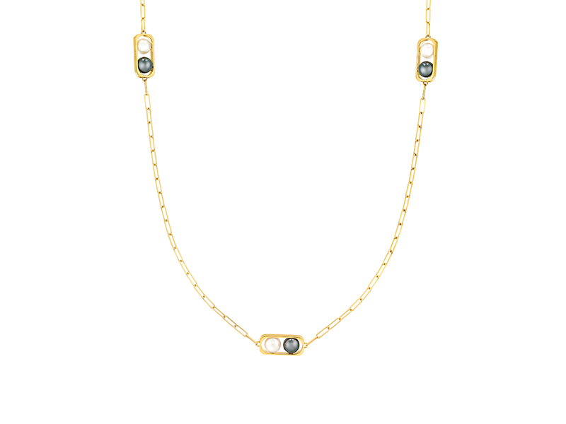 Dinh Van From 2 pearls collection - Yellow gold with fresh water and hematite pearls