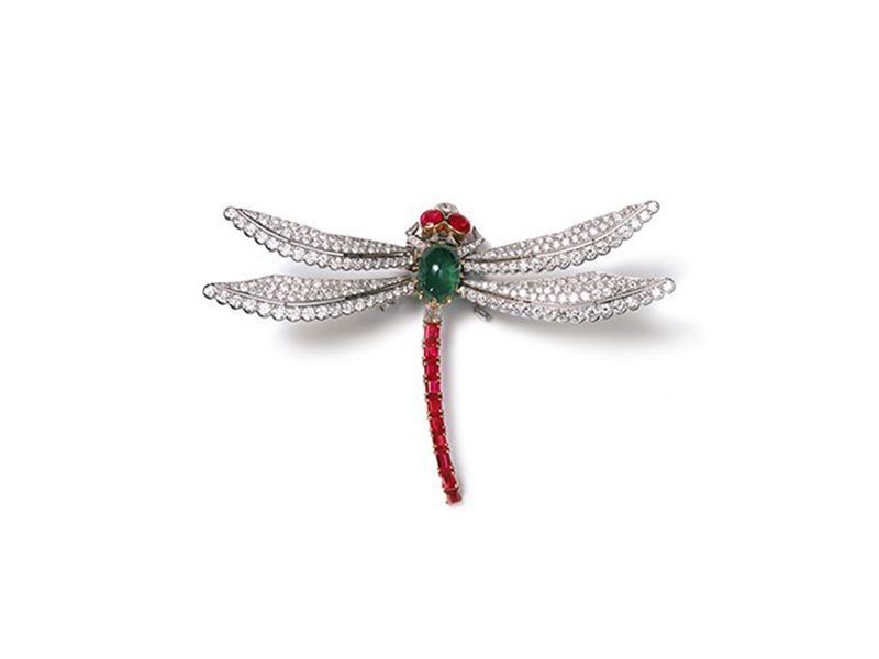 Dragonfly clip brooch dating from 1953 from the Cartier Collection, set with diamonds, emeralds and rubies.