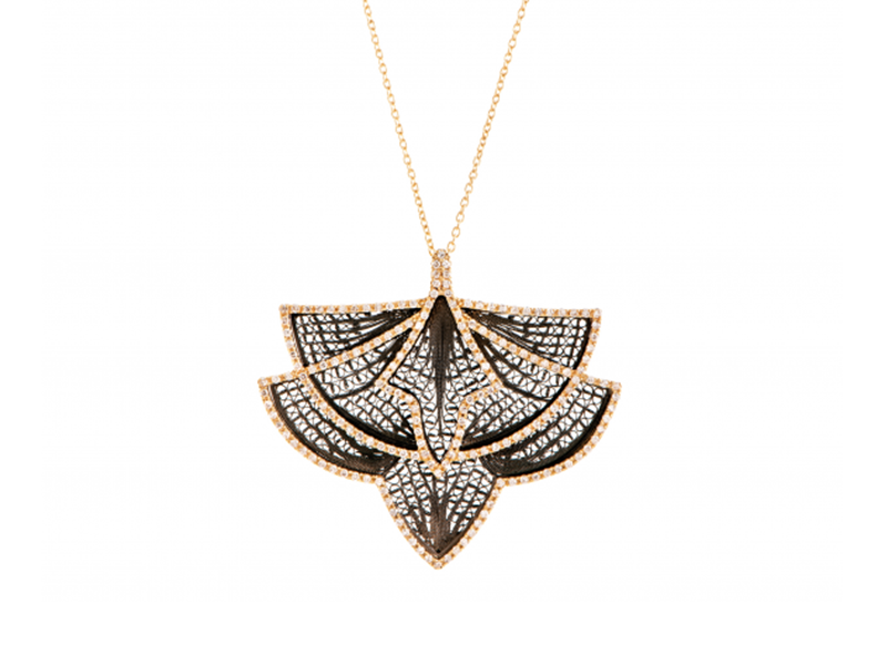 Eleuterio Necklace couture mounted on yellow gold and black ruthenium filigree with 177 diamonds is available at the Pop Up, CHF 5'650