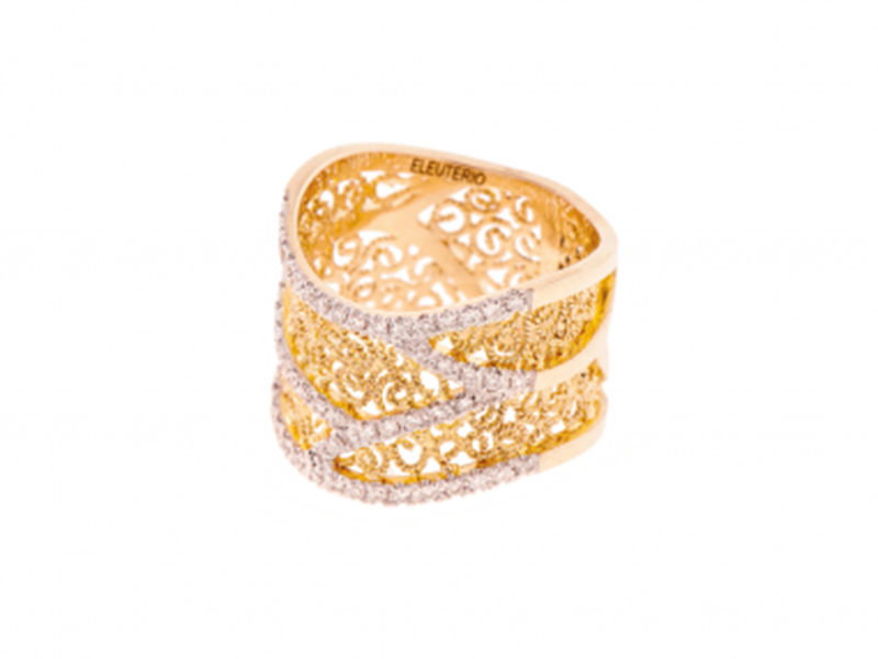 Eleuterio Ring heritage mounted on yellow gold with 57 diamonds, CHF 2'780