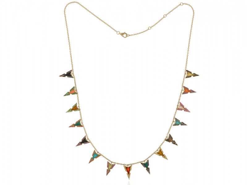 Elise Dray Jade Necklace set with a multi-colored stones like a tie & dye of hues mounted on yellow gold.