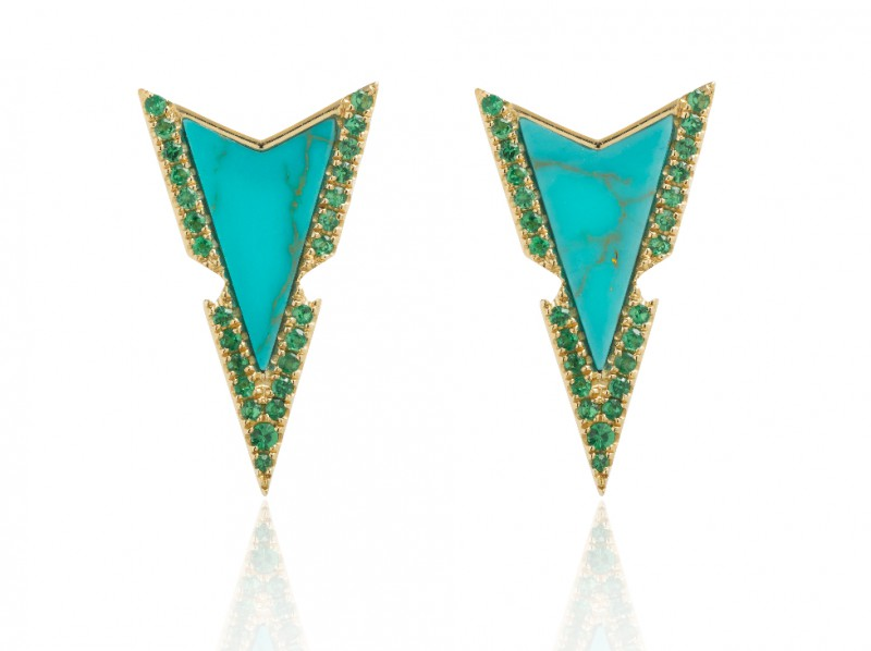 Elise Dray Earrings set with green tsavorites and turquoise arrows