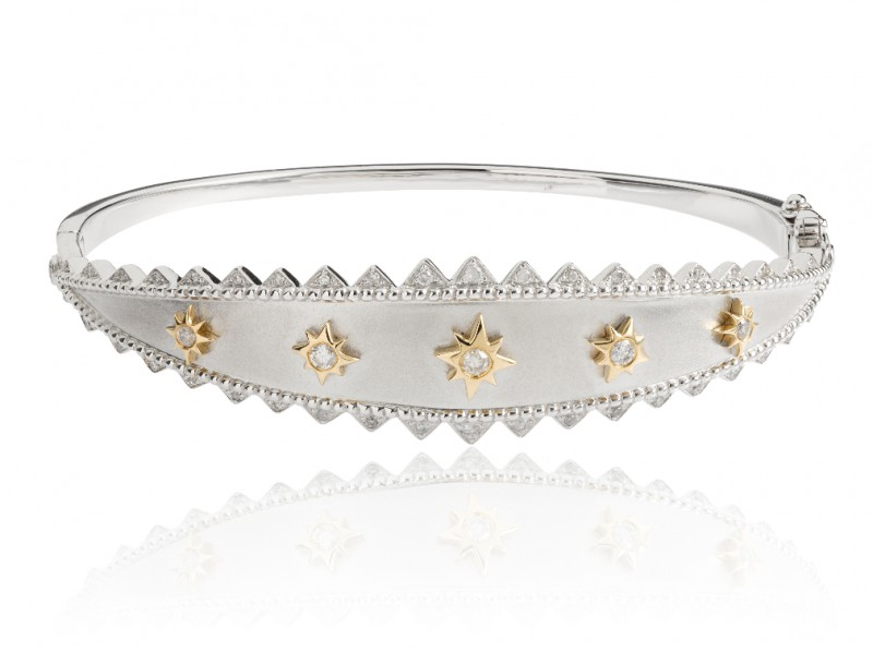 Elise Dray Khalessi Bracelet set with white gold brushed and yellow gold designs centered with diamonds