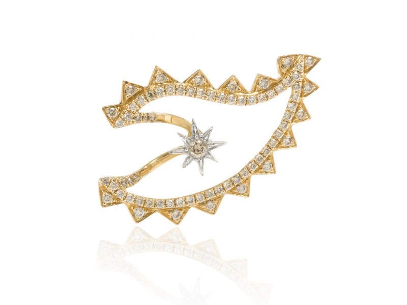 Elise Dray Eye Earring - Set on yellow gold with diamonds