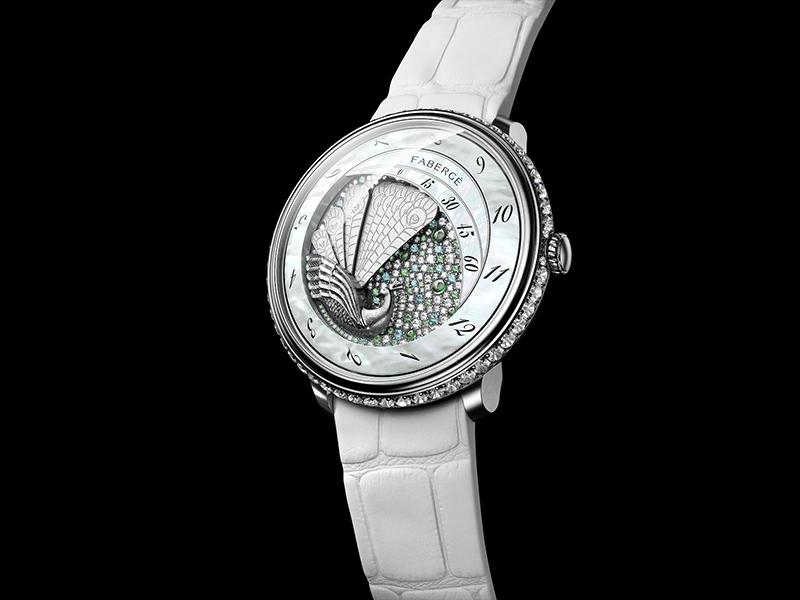 Lady Compliquée Peacock watch black white diamonds