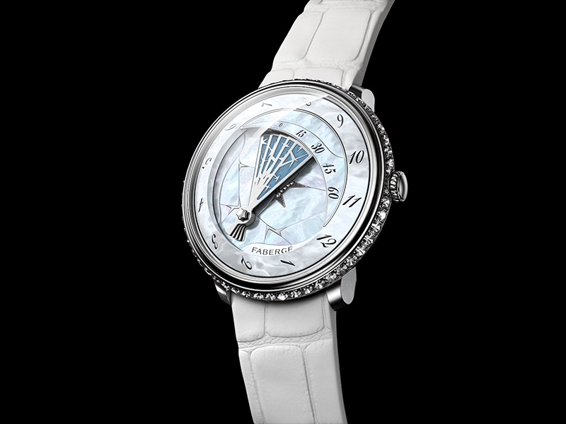 Lady Compliquée Winter Timepiece fabergé white black watch diamonds