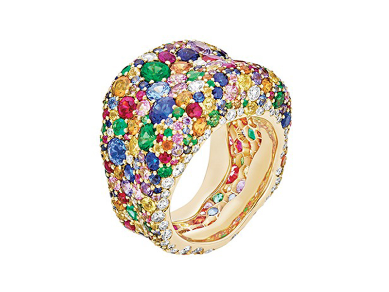 Fabergé Emotion multi-coloured ring mounted on yellow gold is available at the Pop Up