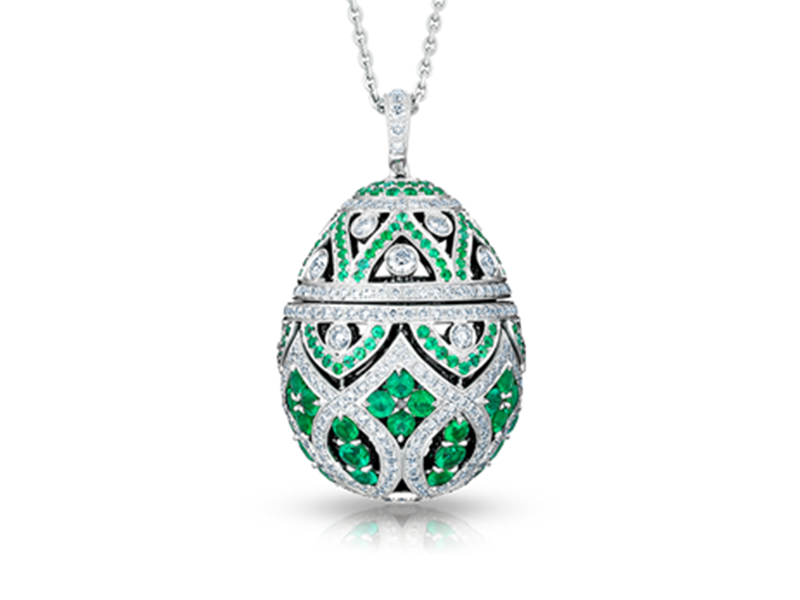 Fabergé Zenya emerald egg pendant mounted on white gold is available at the Pop Up