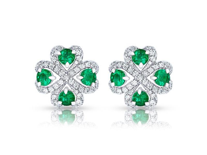 Fabergé Quadrille emerald earrings