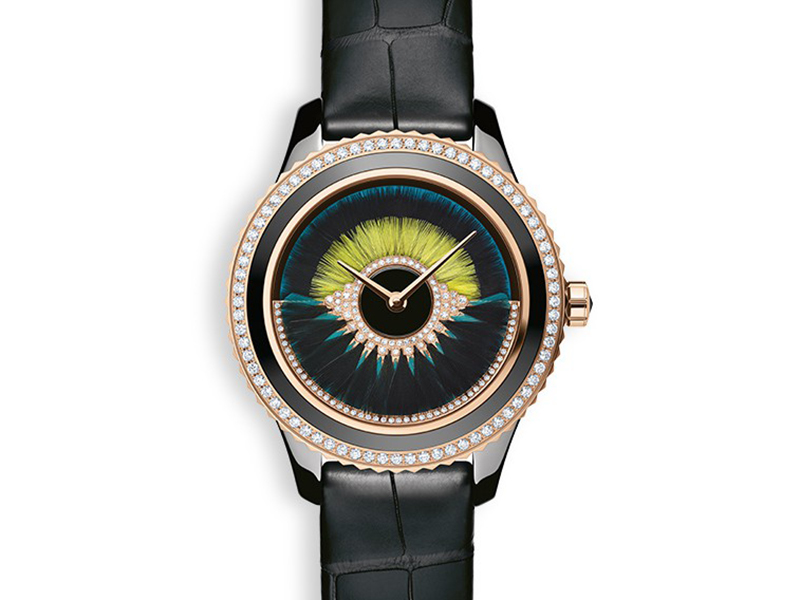 Dior VIII Grand Bal Cancan timepiece mounted on rose gold and black ceramic with diamonds and feathers
