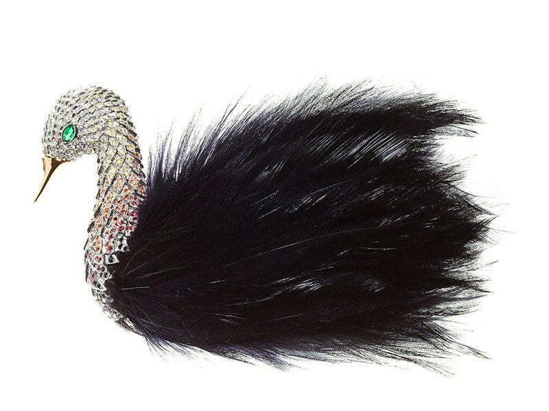 Wilfredo Rosado Feather collection - flight of fancy brooch mounted on white gold with diamonds, emeralds, sapphires and spinels